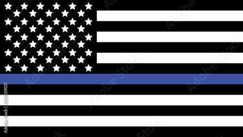 Fotografía  American Flag with Thin Blue Line