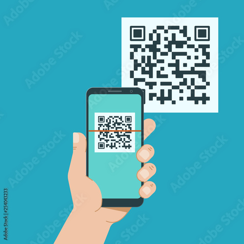 Hand with phone scanning qr code. Flat style icon. Canvas-taulu