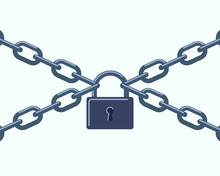 Closed Lock On The Chains. Symbol Of Protection Of Information, Property, Inaccessibility.