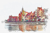 Watercolor sketch or illustration of a beautiful view of the architecture of the city of Gdansk in Poland - 254044446
