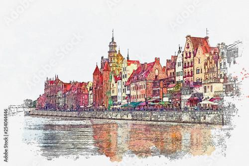 ilustracja-widoku-architektury-gdanska