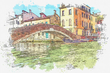 Panel Szklany Architektura Watercolor sketch or illustration of a beautiful view of the traditional architecture - colorful houses and the bridge in Venice in Italy