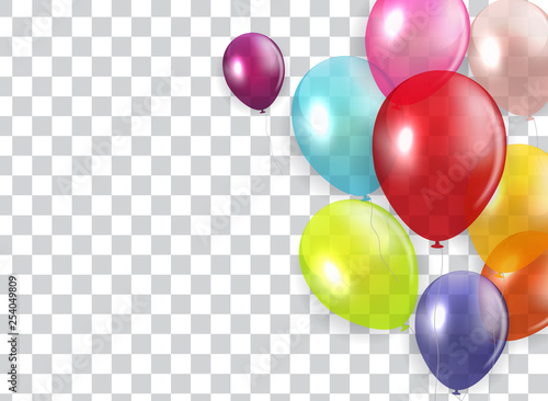 Photo  Glossy Happy Birthday Concept with Balloons isolated on transparent background