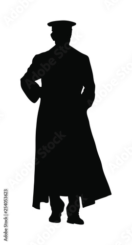 Cuadros en Lienzo  Nazi Germany soldier with rifle vector silhouette illustration