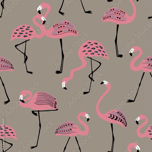 Bezszwowy wzór Z Ludowej sztuki flamingiem.