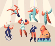 Arena Circus Show With Clown Acrobat And Animal. Woman Juggler On Unicycle. Strongman Lift Weights. Trained Lion With Trainer. Aerialists High Under Dome. Flat Cartoon Vector Illustration