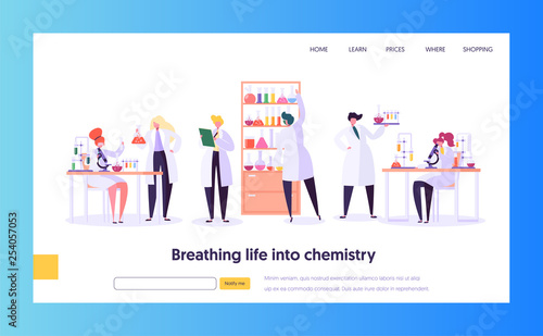 Pharmaceutic Laboratory Research Concept Landing Page Canvas Print
