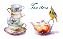 Party Colorful Tea Cups And Sa...