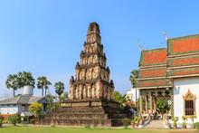 Ancient Pagoda At Wat Chamthewi In Lamphun, North Of Thailand