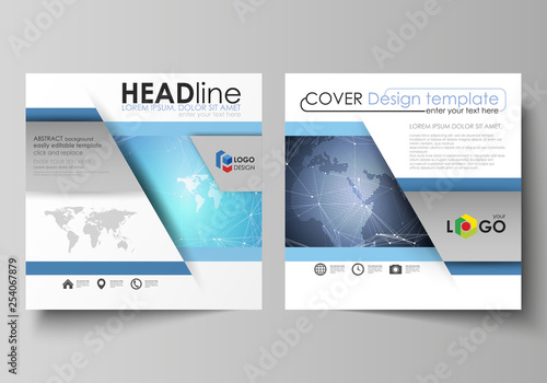 Fotografía  The minimalistic vector illustration of the editable layout of two square format covers design templates for brochure, flyer, magazine