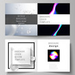 Vector layout of two covers templates for square design bifold brochure, magazine, flyer. SPA and healthcare design, sci-fi technology background. Abstract futuristic or medical consept backgrounds.