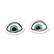 Sticker Of A Cartoon Eyes