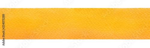 Materiał do szycia Akwarela bezszwowe puste malowane dekoracyjne linii. Piękny głęboki stałe żółty kolor na szorstki teksturowanej papieru. Handdrawn wody kolor gradientu ilustracja na białym tle, na białym tle projekt element.