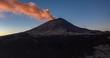 Aerial hyperlpase of the sunrise at the Popocatepetl active volcano in El Paso de Cortes. February 17, 2019.