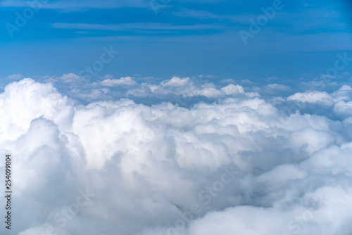Beautiful Blue sky over white cloud view from airplane - 254099804
