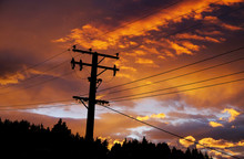 Sunrise And Electriticy Wires,...