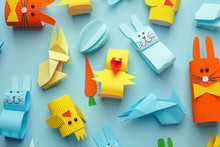 Easter Diypattern Background With Papercraft Decorative Toys. Top View With Copy Space. Happy Easter Card