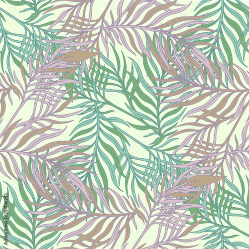 Ingelijste posters Tropische Bladeren Decorative ornamental seamless spring tropical pattern. Endless elegant texture with leaves. Tempate for design fabric, backgrounds, wrapping paper, package, covers
