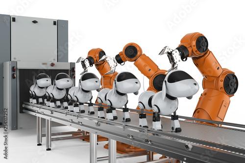 Dog robot production line Tablou Canvas