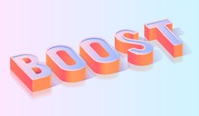 Boost Text Title Isometric Vector Template