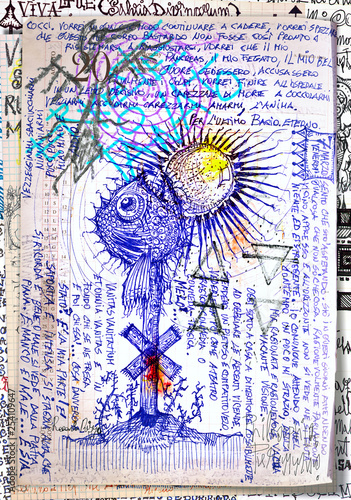 Tuinposter Imagination Alchemy and tarot's. Manuscripts, sketches, graffiti and alchemical, astrological, esoteric, ethnical drawings, with symbols, tarots, and chemical and magical formulas