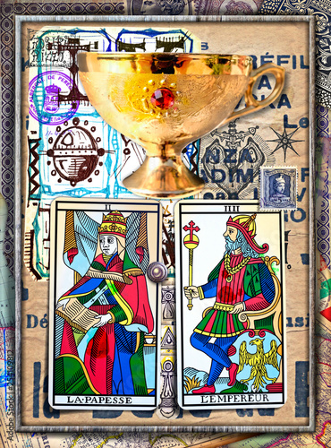 Deurstickers Imagination Alchemy and tarot's. Manuscripts, sketches, graffiti and alchemical, astrological, esoteric, ethnical drawings, with symbols, tarots, and chemical and magical formulas