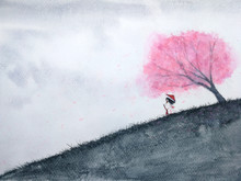 Traditional Oriental Woman Waiting Someone Under Cherry Blossom Or Sakura In Field. Watercolor Landscape  Asia Art Hand Drawn Style.