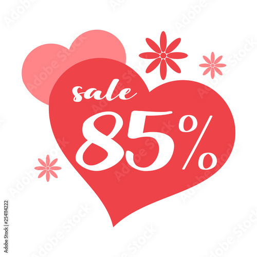 Fotografia  85 Percent Discount for Mother day with Hearts and Flowers Design