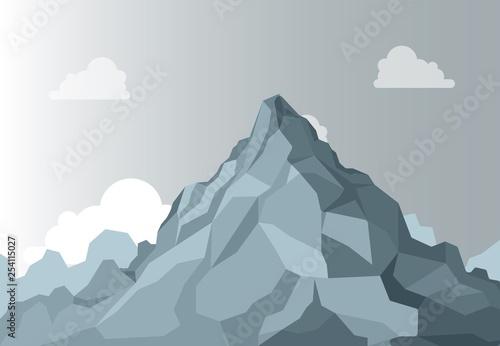Aluminium Prints Dark grey Mountain landscape. Alpine Mountain graphic top, high shape stone on background sky. Vector Isolated Landscape