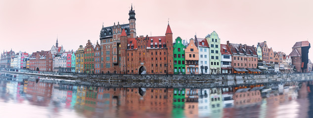 Panorama of Poland, Gdansk main sights, view from the river