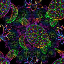 Sea Turtle Seamless Pattern