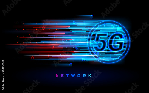 Cuadros en Lienzo Binary data flowing through 5g wireless connection for technology banner