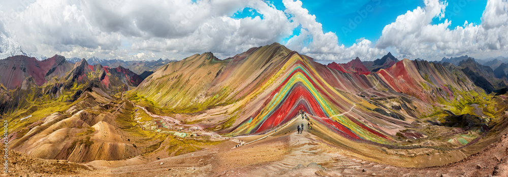 Fototapeta Hiking scene in Vinicunca, Cusco Region, Peru.  Rainbow Mountain
