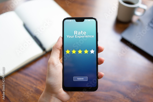 Cuadros en Lienzo Rate your experience customer satisfaction review Five Stars on mobile phone screen