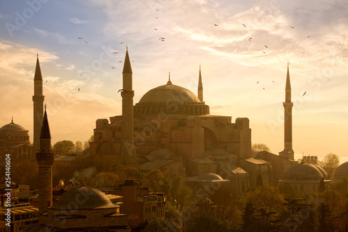 View of Haghia Sophia or Aya Sofya at sunset in Istanbul, Turkey Wallpaper Mural