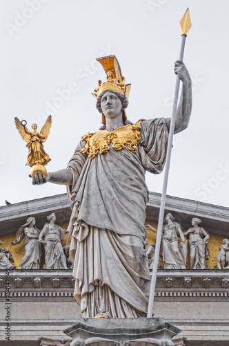 Fragment of the Pallas Athena  in front of the Austrian Parliament building Canvas Print