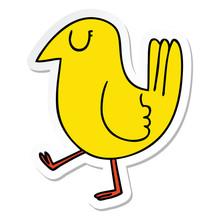 Sticker Of A Quirky Hand Drawn Cartoon Yellow Bird