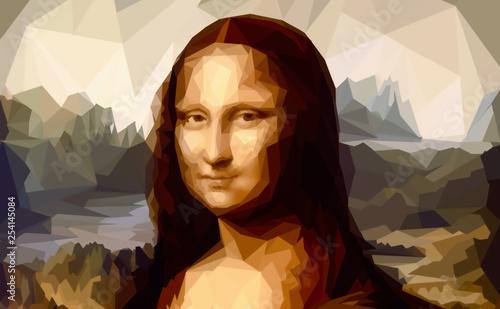 My painting reproduction of Mona Lisa by Leonardo da Vinci and poligon effect Canvas Print