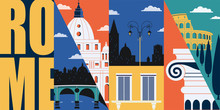 Rome, Italy Vector Banner, Ill...