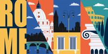 Rome, Italy Vector Banner, Illustration. City Skyline, Historical Buildings In Modern Flat Design