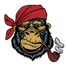 Monkey In A Bandana With A Smo...