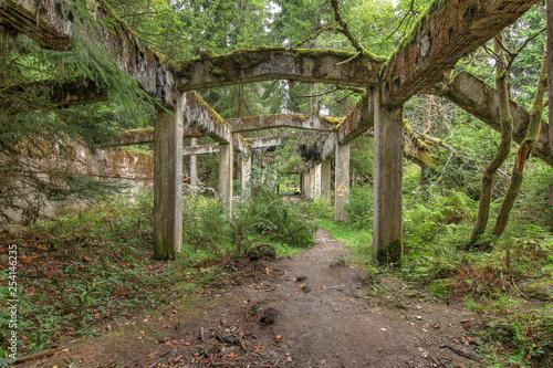 Tuinposter Oude verlaten gebouwen Former war prison camp Rolava