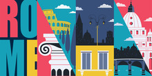 Rome, Italy Vector Banner, Illustration. Cityscape, Historical Landmarks In Modern Flat Design