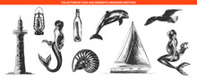 Vector Engraved Style Romantic Sea Collection For Posters, Decoration And Print, Logo. Hand Drawn Sketches Of In Monochrome Isolated On White Background. Detailed Vintage Woodcut Style Drawing.