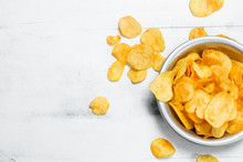 Potato Chips In The Bowl.