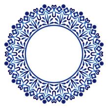 Ceramic Tile Pattern. Decorative Round Ornament. White Background With Art Frame. Islamic, Indian, Arabic Motifs.