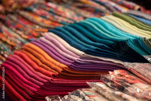 Fotobehang Stof Different colors silk fabric