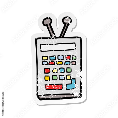 Fotografia  distressed sticker of a cartoon scientific instrument