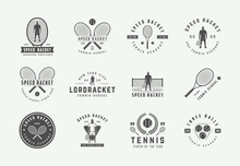 Set Of Vintage Tennis Logos, Emblems, Badges, Labels And Design Elements. Vector Illustration. Monochrome Graphic Art.