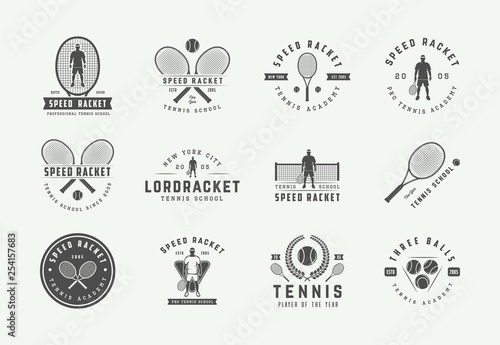 Set of vintage tennis logos, emblems, badges, labels and design elements Wallpaper Mural